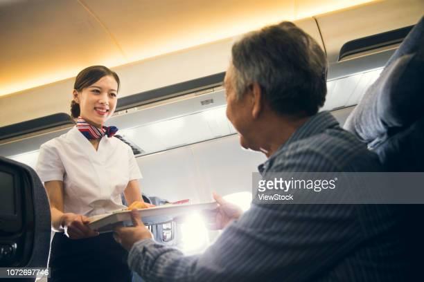 A flight attendant for older men sent machine meal