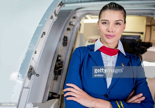 Flight attendant in the plane