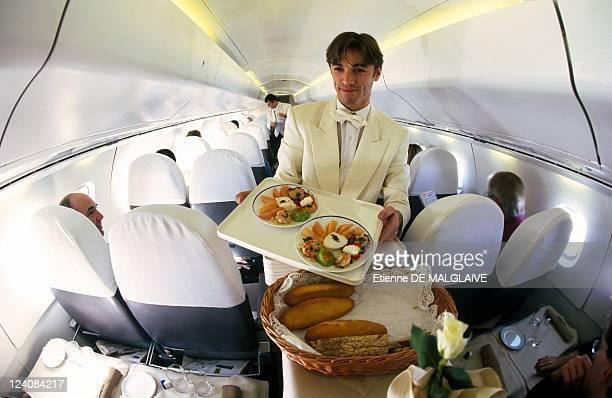 A flight attendant on board Concorde France April 1998