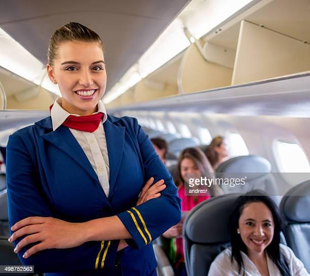 comissário de voo a bordo - tripulação de bordo - fotografias e filmes do acervo