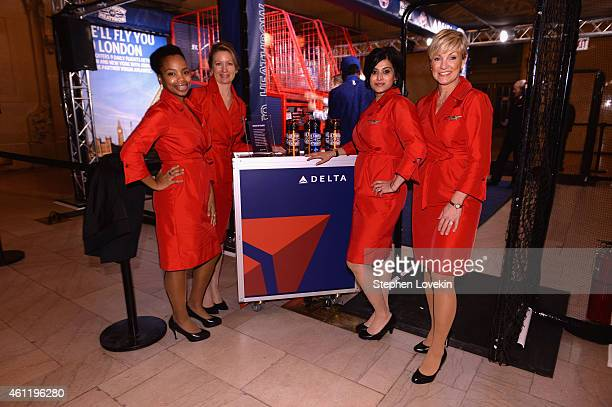 Flight attendants pose as Delta Air Lines hosts the 'Free Throw To Heathrow' event celebrating the New York Knicks return to the O2 Arena in London...