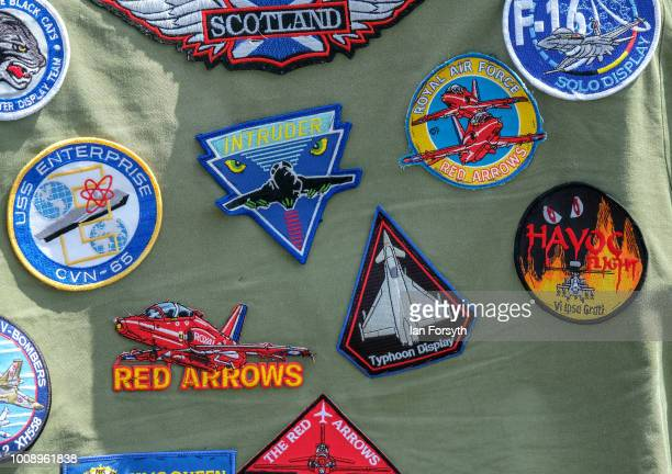 Flight badges are displayed on the jacket of a spectator during the 30th Sunderland International Air show on July 28 2018 in Sunderland England Held...