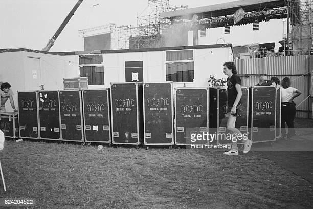 Flight cases belonging to rock band AC/DC backstage at Monsters Of Rock festival Donington Park Leicestershire United Kingdom August 18th 1984