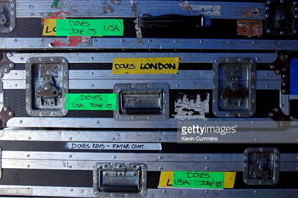 Flight cases containing equipment belonging to English indie rock band Doves Somerset House London September 2005
