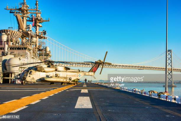 flight deck of the uss essex - lhd 2 - fleet week stock photos and pictures