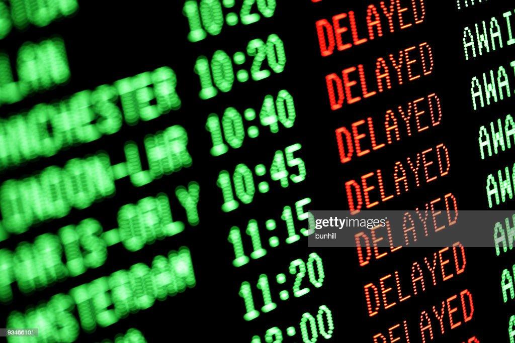 flight delays - delayed departures / arrivals screen : Stock Photo