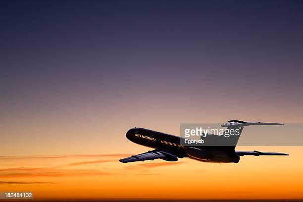 Flight departing in the sunset