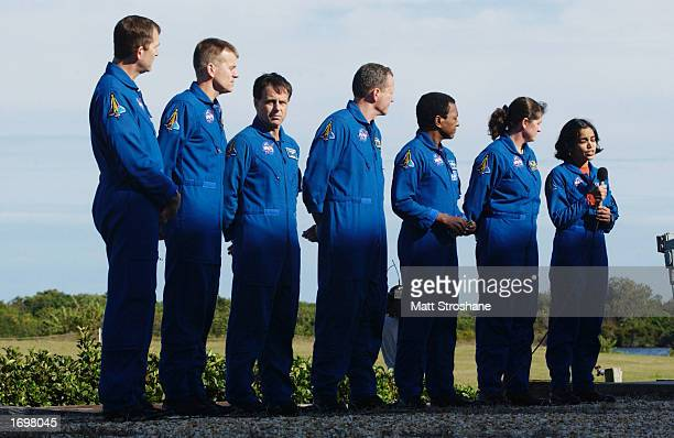 Flight engineer Kalpana Chawla answers reporters' questions during a press conference December 20 2002 at the Kennedy Space Center Florida Mission...