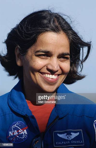 Flight engineer Kalpana Chawla attends a press conference December 20 2002 at the Kennedy Space Center Florida Mission STS107 is scheduled to launch...
