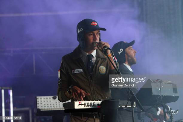 Flight Facilities perform on the AO Live Stage during day seven of the 2019 Australian Open at Melbourne Park on January 20 2019 in Melbourne...