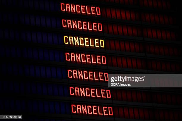 Flight information board displaying cancelled flights at the Gdansk Lech Walesa Airport during the corona virus threat Prime Minister of Poland...