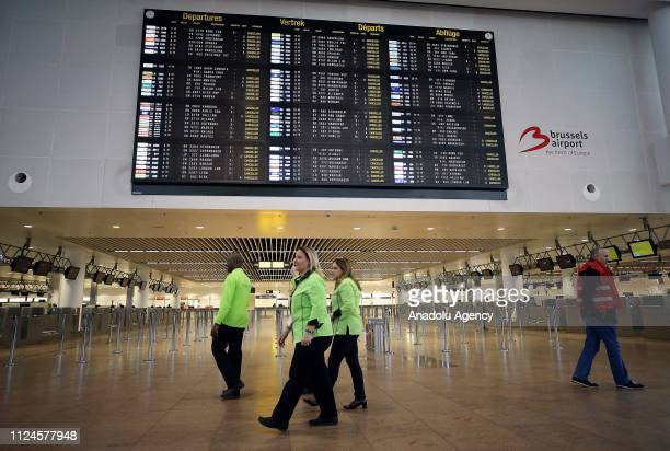 Flight information board is seen at the Brussels Airport as Belgium has closed its airspace for 24 hours during a nationwide strike called by worker...