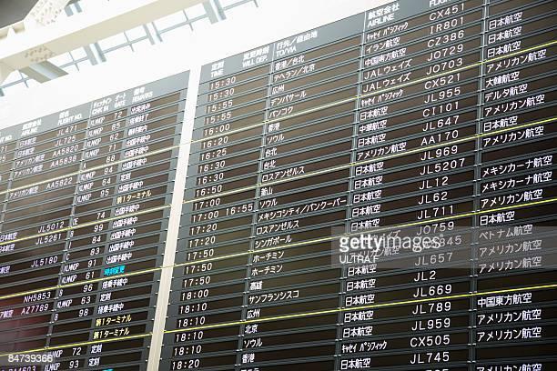 Flight information board.