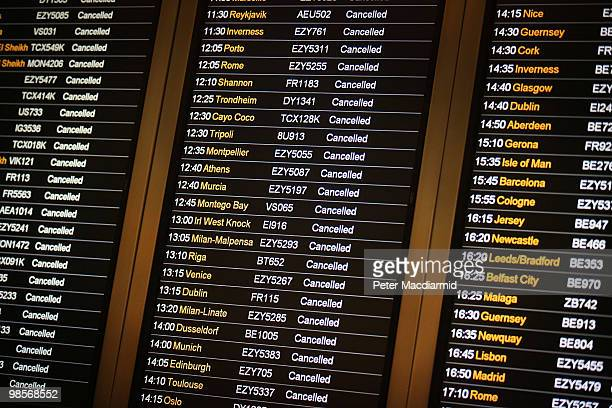 A flight information screen shows cancellations at Gatwick airport on April 20 2010 in England UK passengers face a sixth day of airport closures as...