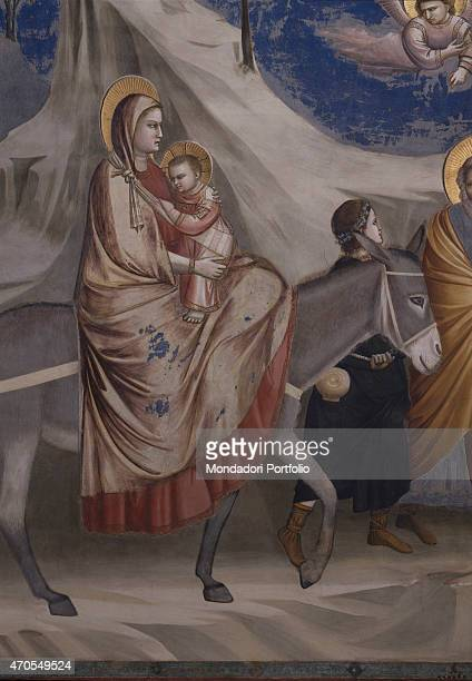 """Flight into Egypt , by Giotto, 1303-1305, 14th Century, fresco Italy, Veneto, Padua, Scrovegni Chapel. After restoration picture. Detail. The Holy..."