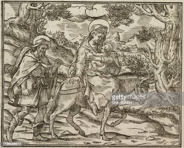 Flight into Egypt Gospel of Matthew engraving from Evangelia Arabice et Latine Tipografia Medicea Rome 1591