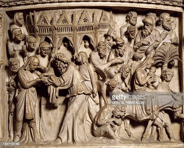 Flight into Egypt scene from the Life of Christ panel on the pulpit in the Cathedral of Pisa 13021310 by Giovanni Pisano marble primatial...