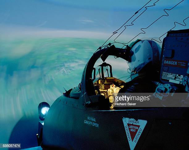 Flight Lieutenant Dave Slow of the elite 'Red Arrows' Britain's prestigious Royal Air Force aerobatic team is seated in a BAE Systems Hawk jet...