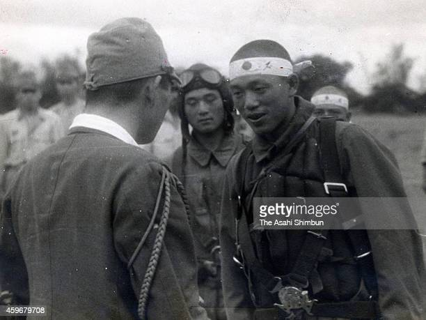 Flight Lieutenant Kunio Takaishi of the Special Attack Unit Hakko 6th unit Seicho leader is seen during the Battle of Leyte Gulf on November 22 1944...