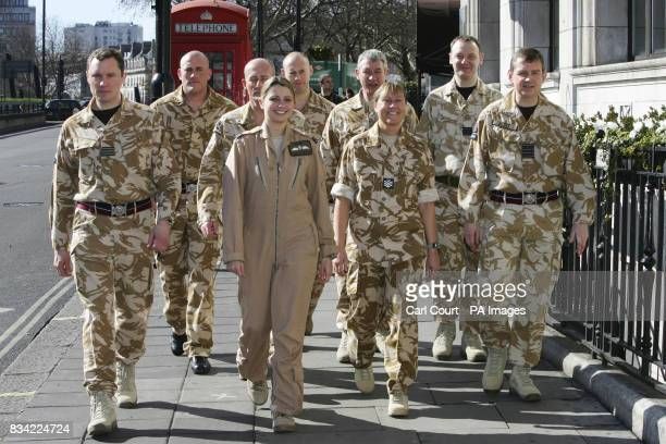 RAF Flight Lieutenant Michelle Goodman and other RAF personnel who are all due to be awarded medals for bravery in conflict zones arrive at the RAF...
