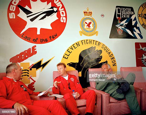 Flight Lieutenants Steve Underwood and Anthony Parkinson and Wing Commander Bill Ramsey of the elite 'Red Arrows' Britain's prestigious Royal Air...