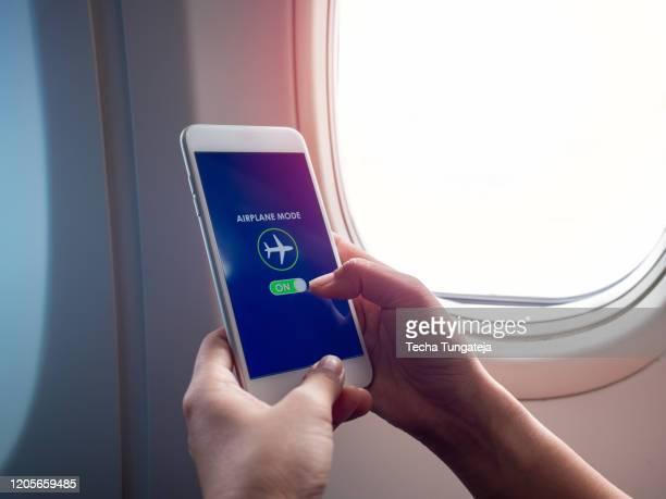 flight mode concept finger sliding screen