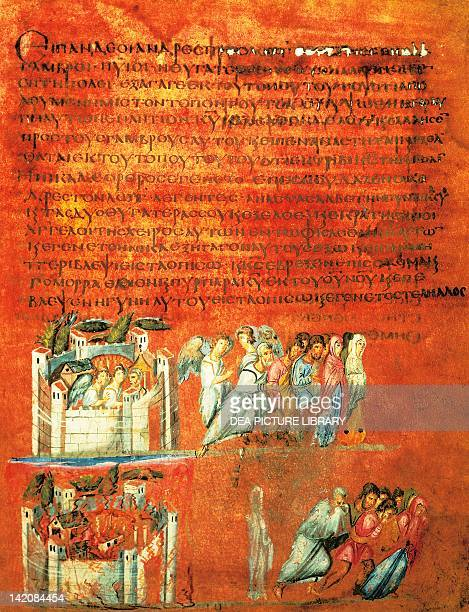 Flight of Loth and the destruction of Sodom miniature from Genesis of Vienna manuscript 6th Century