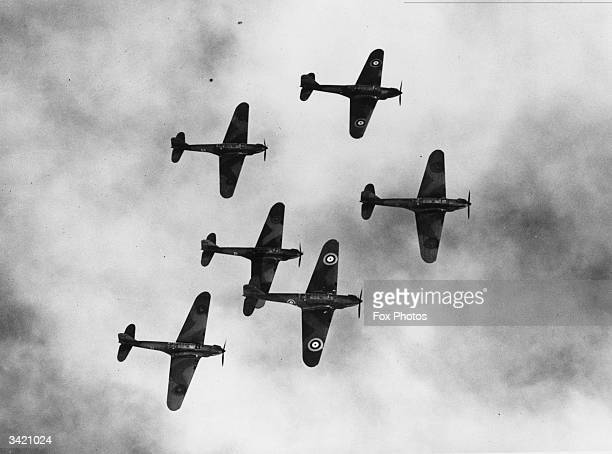 British battle bomber planes flying in formation over Oxford during a rehearsal for Empire Day