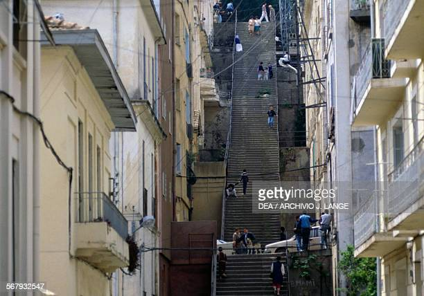 Flight of steps in the Lower Kasbah of Algiers Algeria