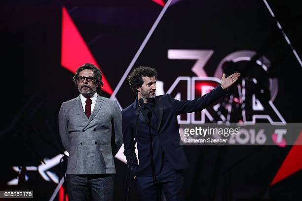 Flight of the Conchords present the ARIA Hall of Fame Induction to Crowded House during the 30th Annual ARIA Awards 2016 at The Star on November 23...