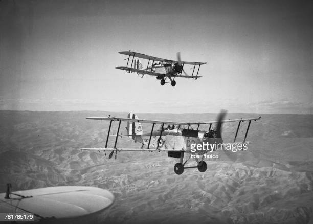 A flight of Westland Wapiti twoseat generalpurpose military biplanes of 55 Squadron Royal Air Force flying operations against rebelling tribesmen...