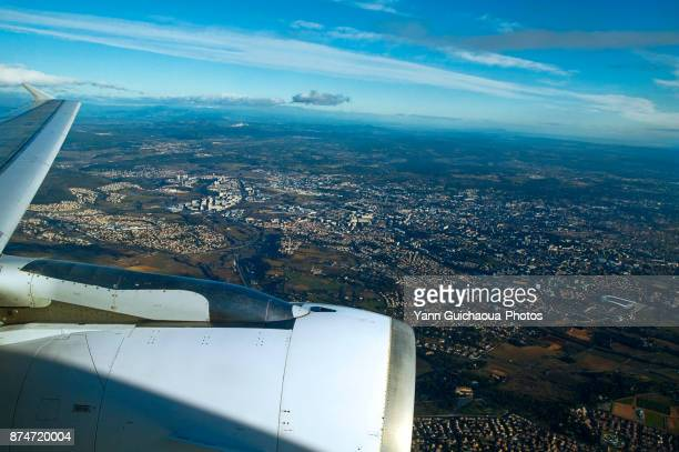 Flight over montpellier, Occitanie, France