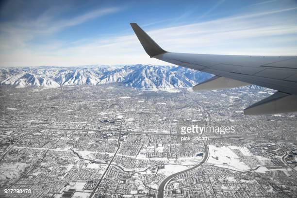 flight over salt lake city - salt lake city utah stock photos and pictures