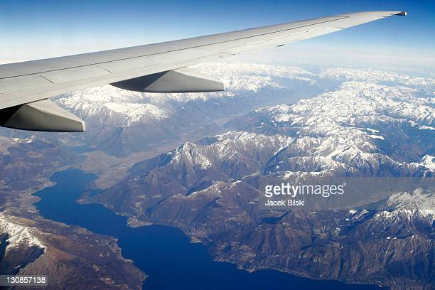 Flight over the Lake Garda and the Alps, Italy