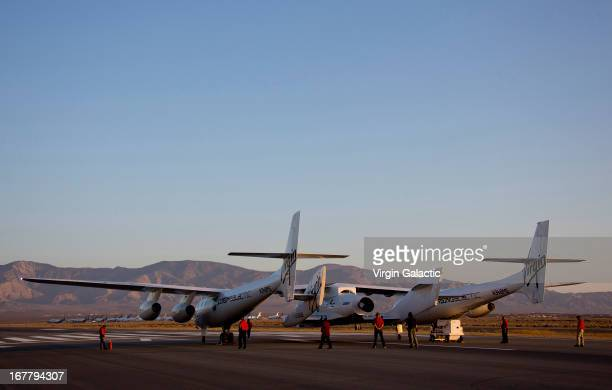 Flight preparations are made to Wk2 and SS2 prior to the first powered flight of Virgin Galactic's SpaceShipTwo on April 29, 2013 in Mojave,...