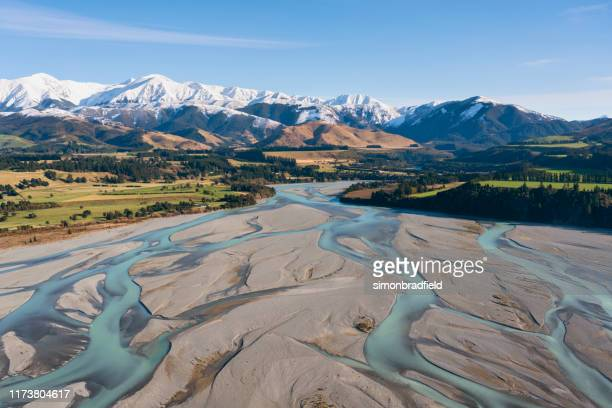 flight to the southern alps, new zealand - canterbury region new zealand stock pictures, royalty-free photos & images