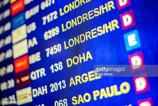 Flights are displayed on a screen at Aena operated Barcelona El Prat International Airport on January 29 2015 in Barcelona Spain Shares in...