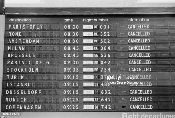 Flights board at Heathrow Airport showing cancelled flights, London, UK, 4th June 1975.