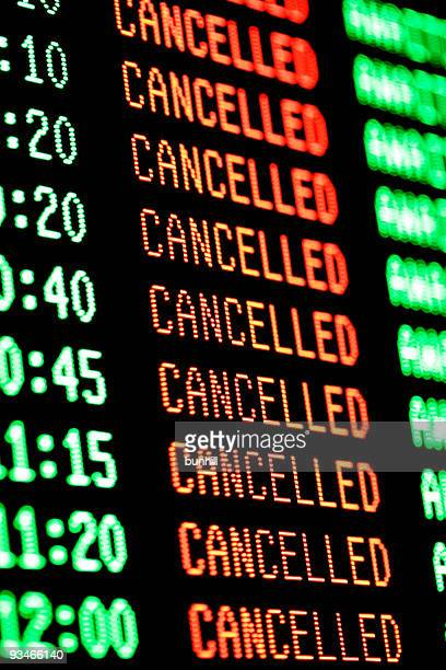 flights cancelled - departures arrivals screen / board