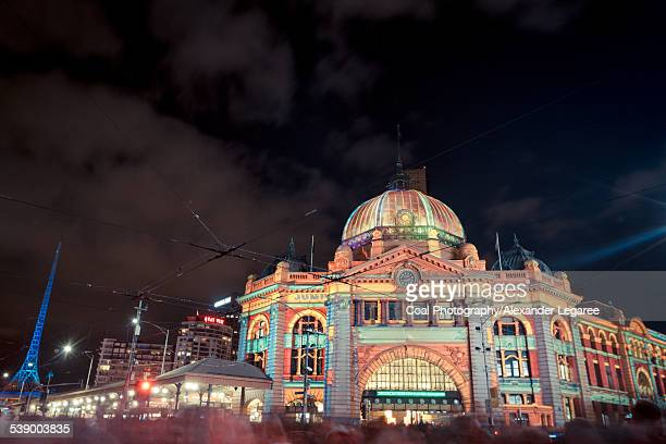 flinders station - white nights festival stock photos and pictures