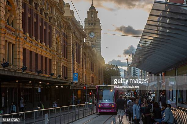 Flinders Street railway station at dusk