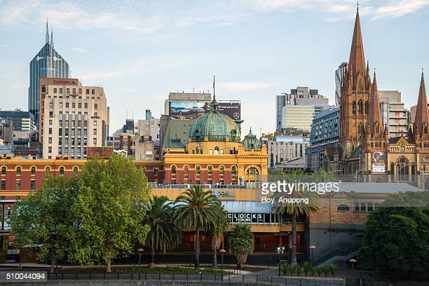 Flinders street station and St.Paul Cathedral of Melbourne.