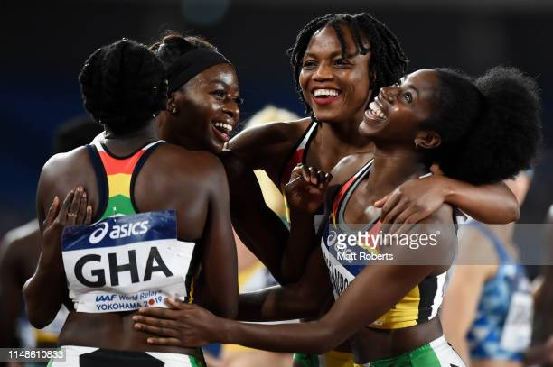 Flings OwusuAgyapong Gemma Acheampong Persis WilliamMensah of Ghana celebrate after the Women's 4x100m Relay Final on day two of the IAAF World...