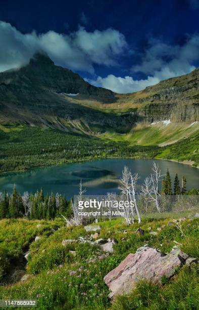 flinsch peak above oldman lake, two medicine district, glacier national park, montana, usa. - two medicine lake montana stock photos and pictures
