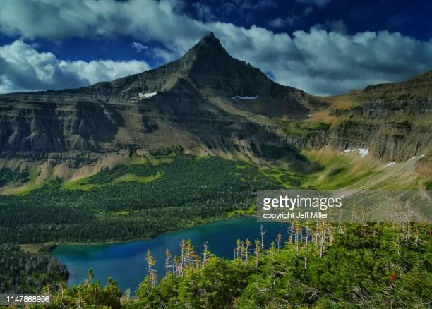 Flinsch Peak rises above Oldman Lake, Two Medicine District, Glacier National Park, Montana, USA.