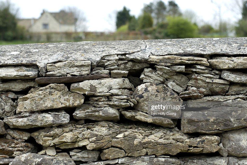 Flint dry stone wall : Stock Photo