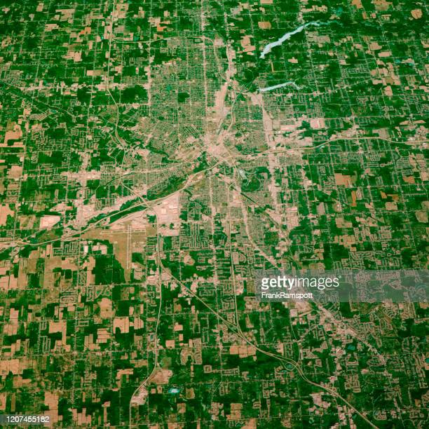 flint michigan 3d render map color top view aug 2019 - frankramspott stock pictures, royalty-free photos & images