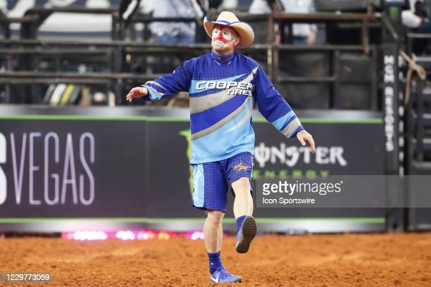 Flint Rasmussen dances on during the PBR World Finals, on November 15th at the AT&T Stadium, Arlington, TX.
