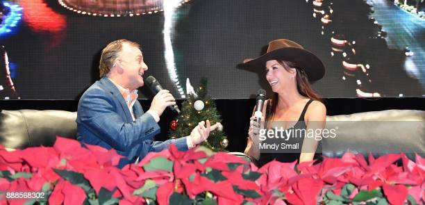 Flint Rasmussen interviews actress Debbie Dunning during the Outside the Barrel with Flint Rasmussen show during the National Finals Rodeo's Cowboy...