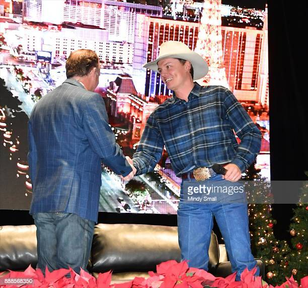 Flint Rasmussen interviews recording artist Ned LeDoux during the Outside the Barrel with Flint Rasmussen show during the National Finals Rodeo's...